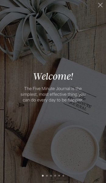 Screenshot de app de five minute journal